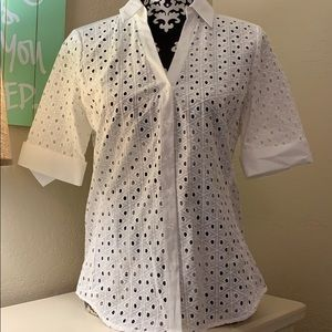 NWT White dress shirt with lace front detail
